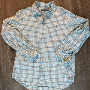 White, Navy & Teal Ralph Lauren Dress Shirt